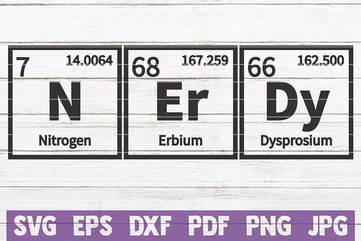 Nerdy Periodic Table SVG Cut File | commercial use example image 1