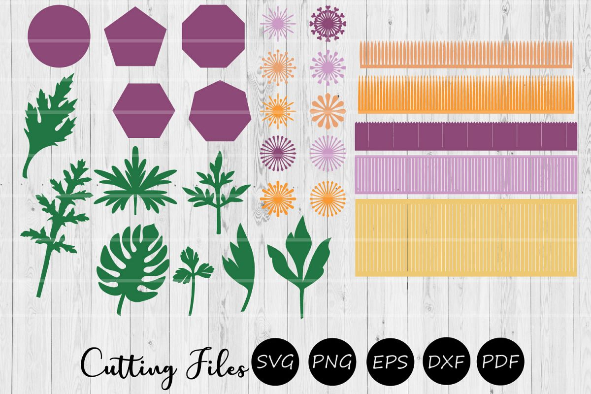 28 Paper Flower Leaves Bases and Centers Templates | DIY | example image 1