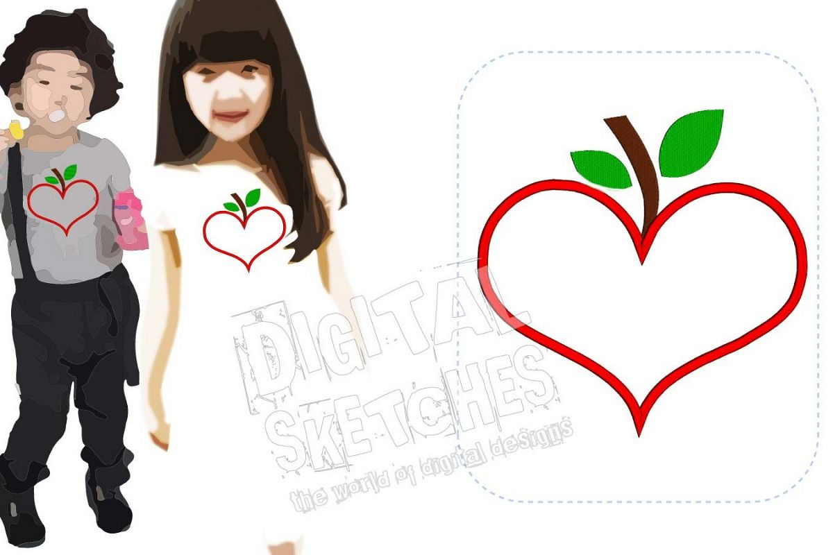 Heart Apple Applique Machine Embroidery Design 5 Sizes example image 1