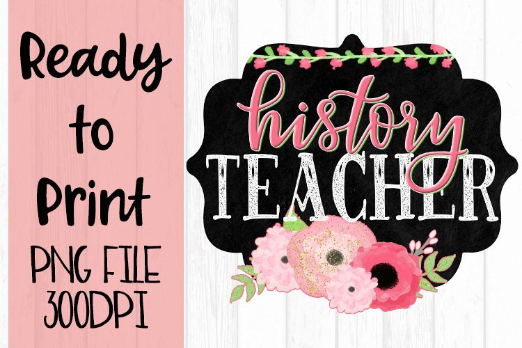 History Teacher Chalkboard and Flowers Ready to example image 1