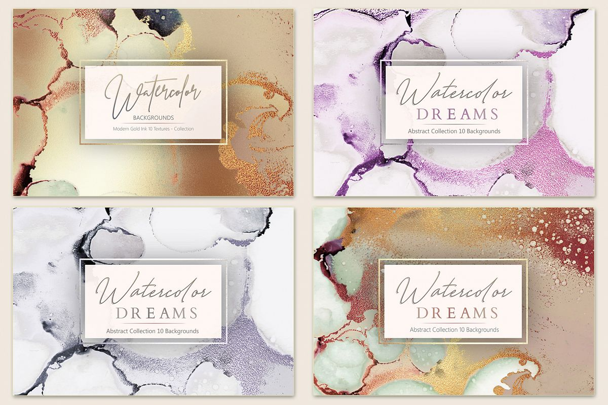 Gold Watercolor and Foil Textures BUNDLE example image 1