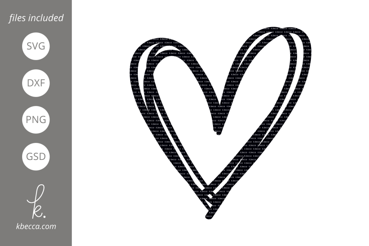 Sketched Heart SVG Cut Files example image 1