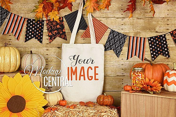 Rustic Fall Halloween Canvas Tote Bag Mockup, JPG Mock up example image 1