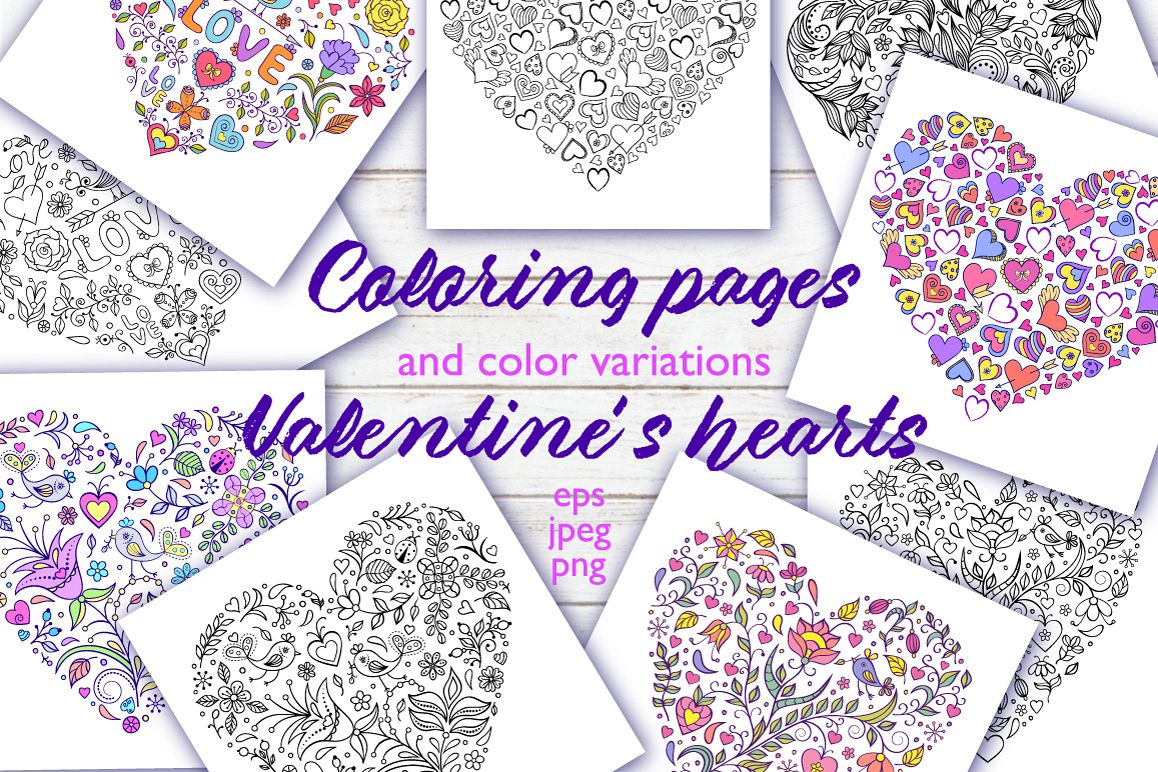 Floral Valentine's hearts example image 1