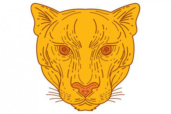 Cougar Mountain Lion Head Mono Line example image 1