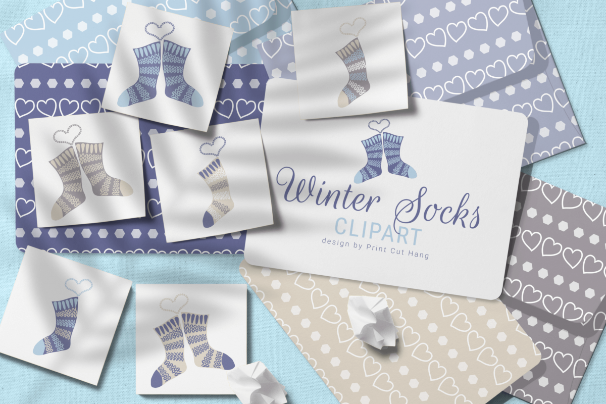 Winter Knitted Accessories Clipart & Scrapbooking Papers Set example image 1