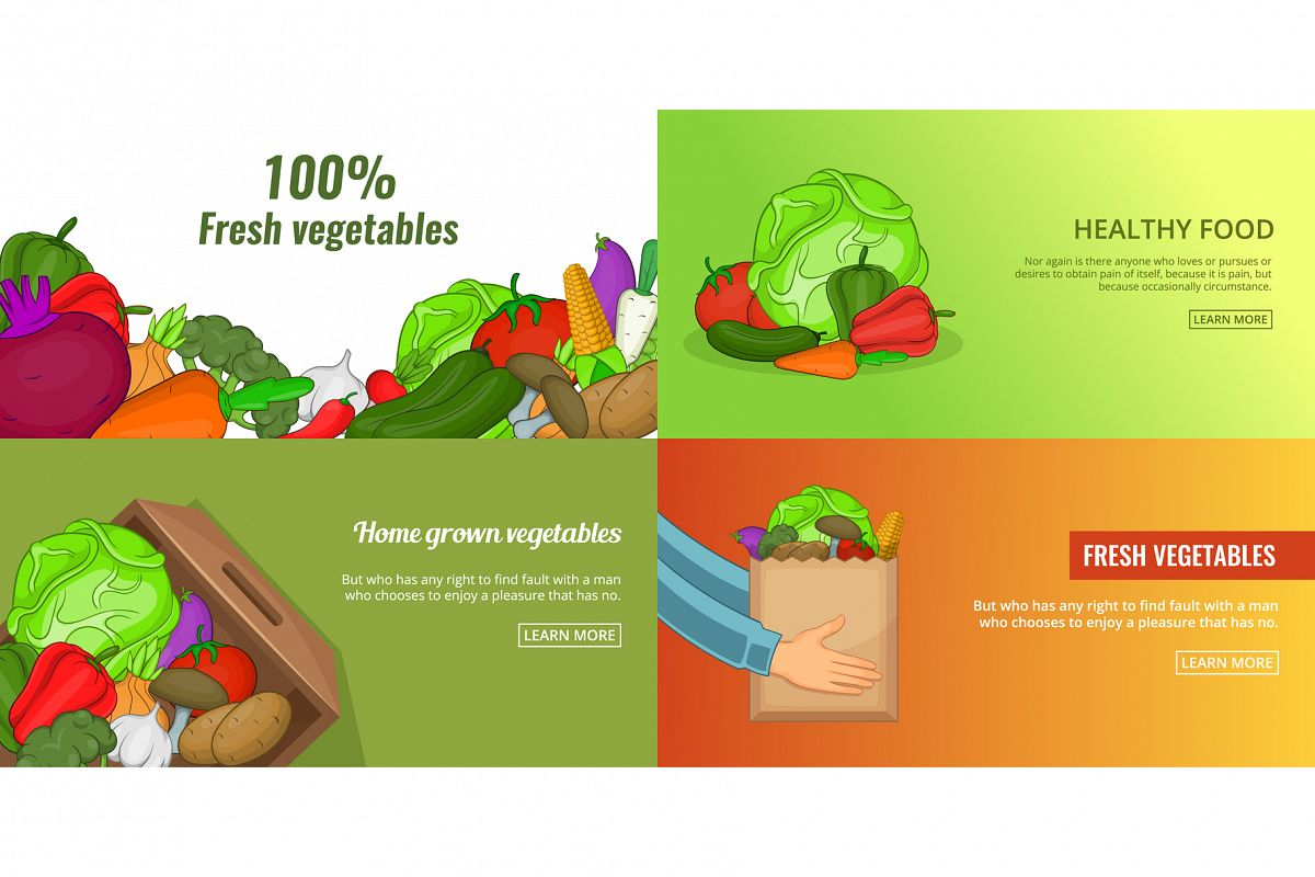 Fresh vegetables banner set template, cartoon style example image 1
