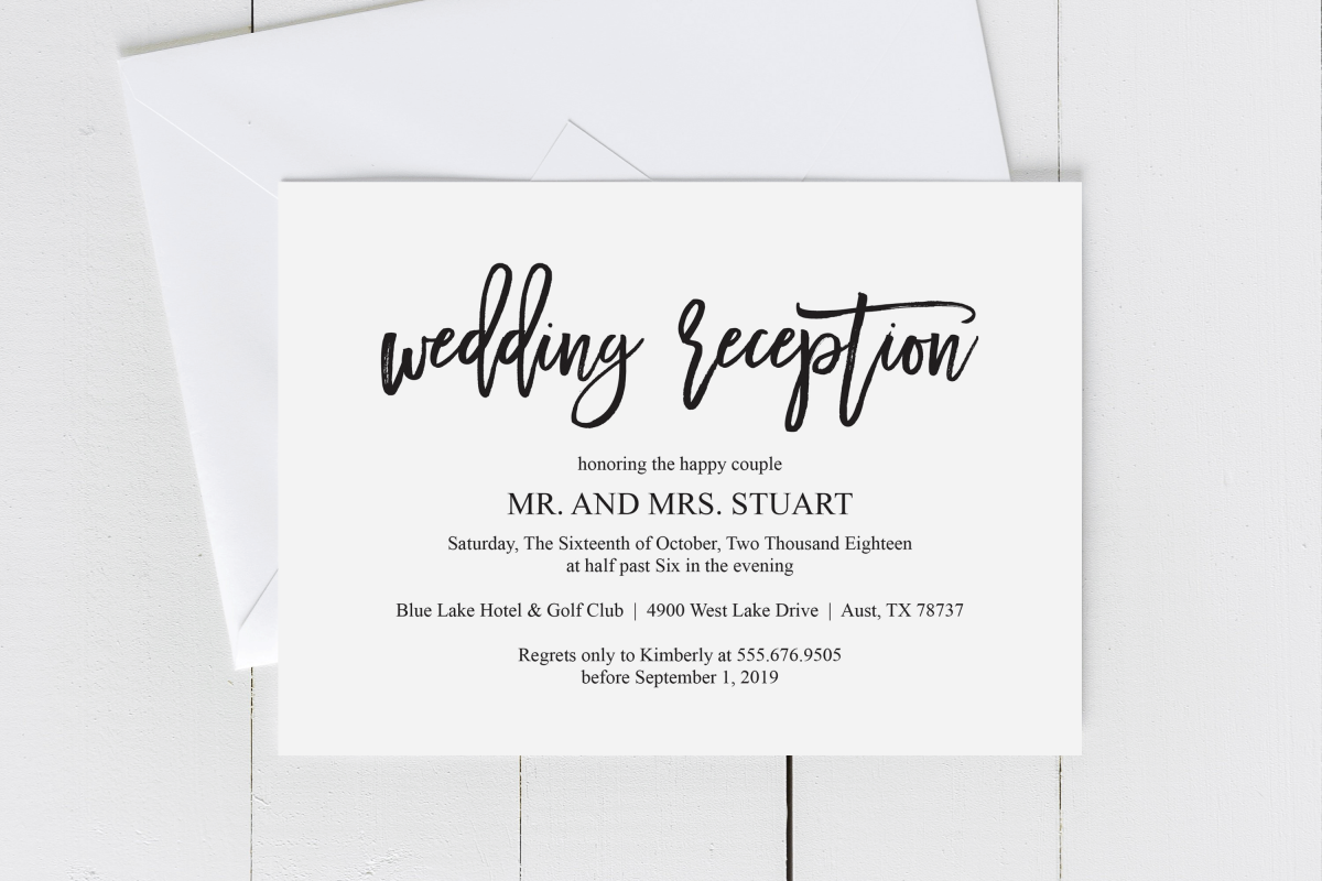 Wedding Reception Invitation Card Pdf Editable Template