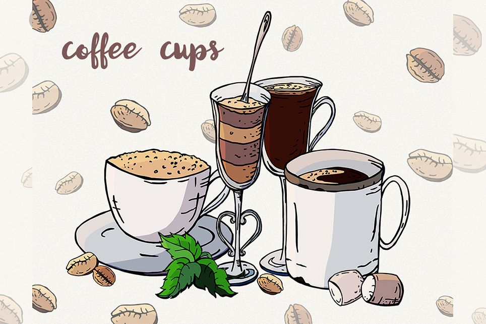 Coffee clipart Coffee cup Sweets clipart Vector coffee example image 1