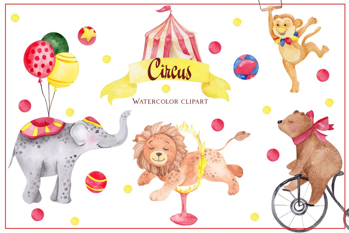 Circus. Watercolor clipart example image 1