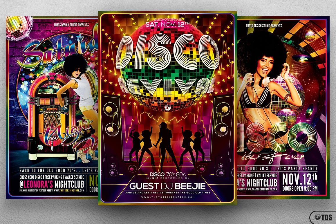 Disco Music Flyer Bundle V1 example image 1