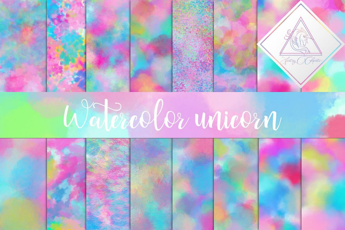 Watercolor Unicorn Digital Paper example image 1