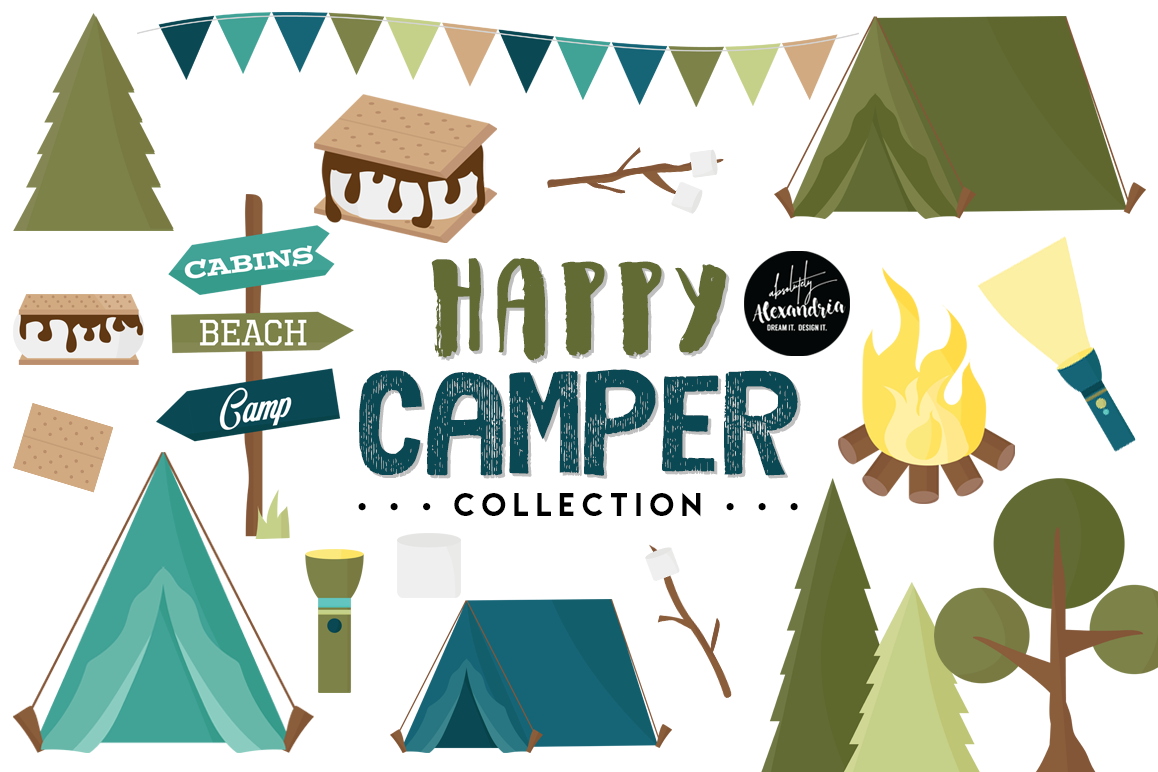 Happy Camper Clipart Graphics & Digital Paper Patterns Bundle example image 1