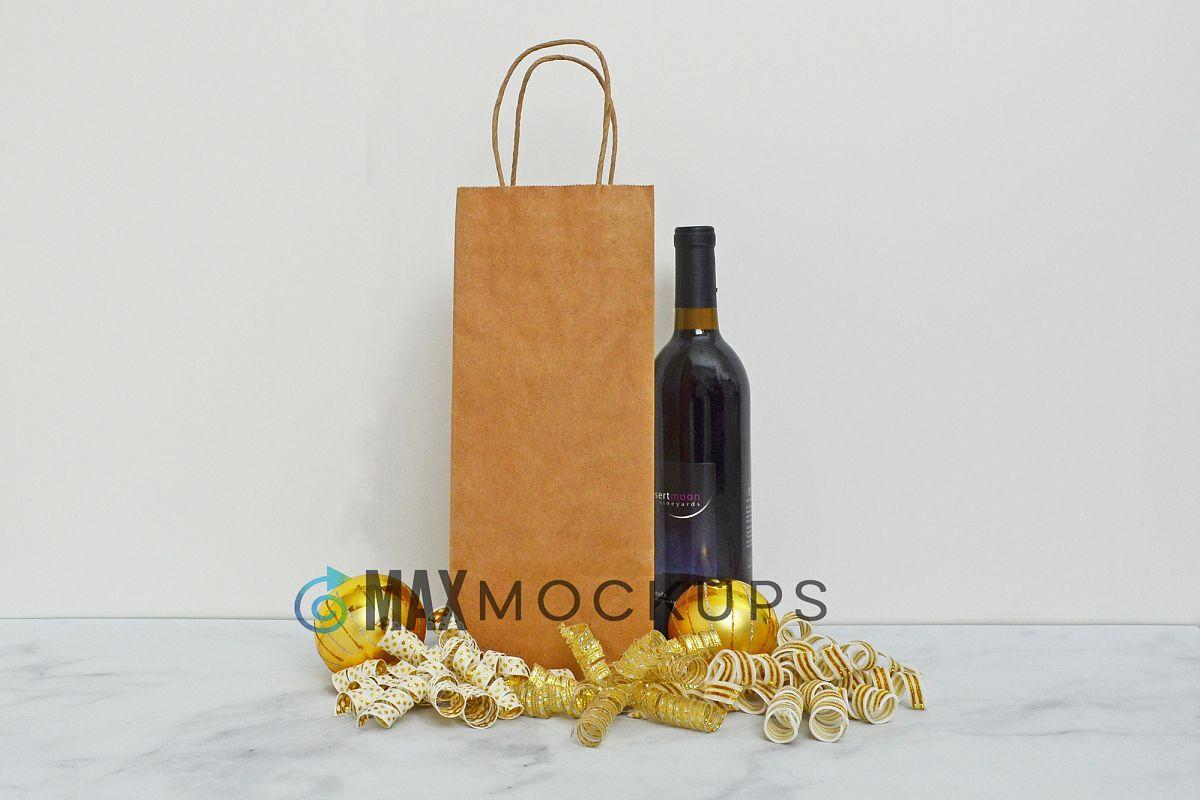 Kraft Wine bag Mockup, Christmas gold, styled photo display example image 1