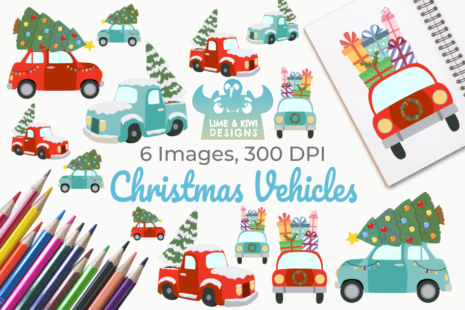 Christmas Vehicles Clipart, Instant Download Vector Art example image 1