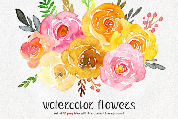 Yellow & pink watercolor flowers example image 1