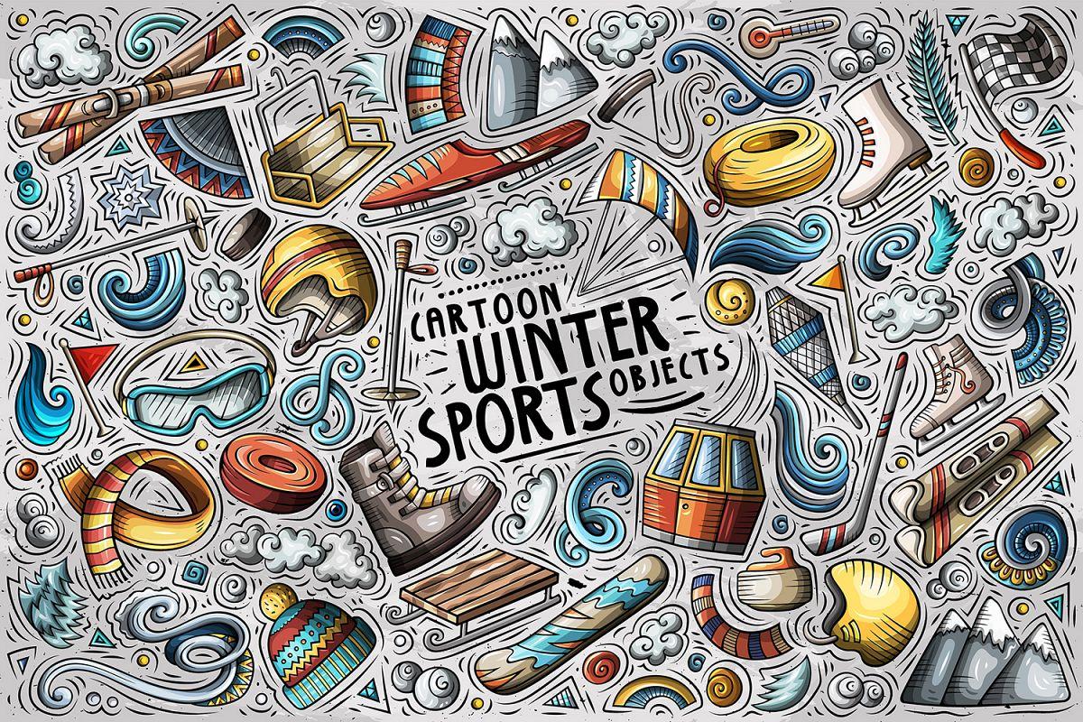 Winter Sports Cartoon Objects Set example image 1
