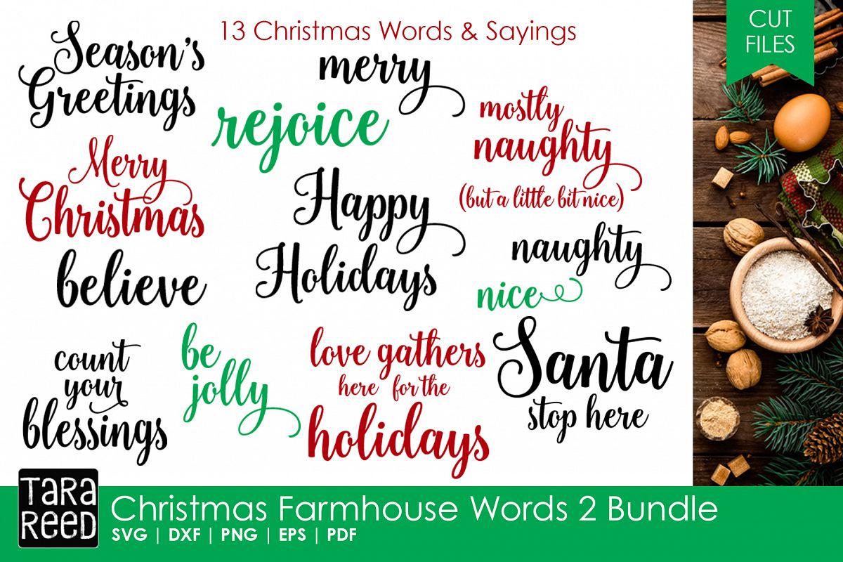 christmas farmhouse words 2 bundle