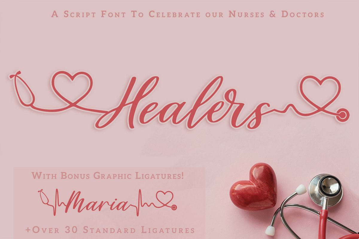 Healers - A script font to celebrate our nurses and doctors example image 1