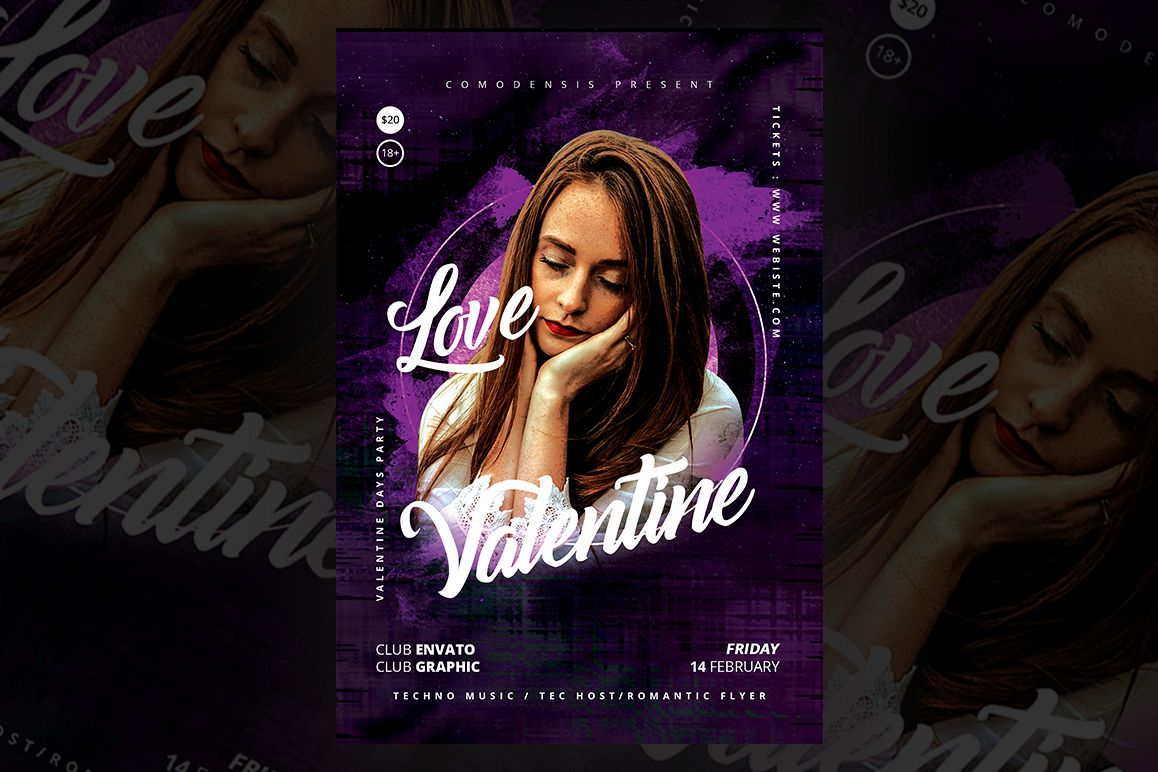 Valentines Party Flyer Templates example image 1