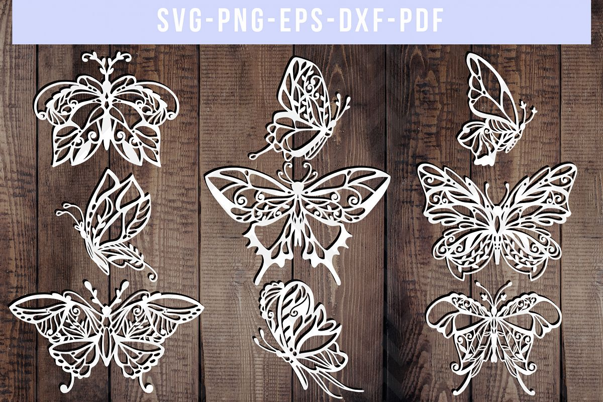 Bundle Of 9 Butterfly Papercut Templates, Paper Art DXF PDF example image 1
