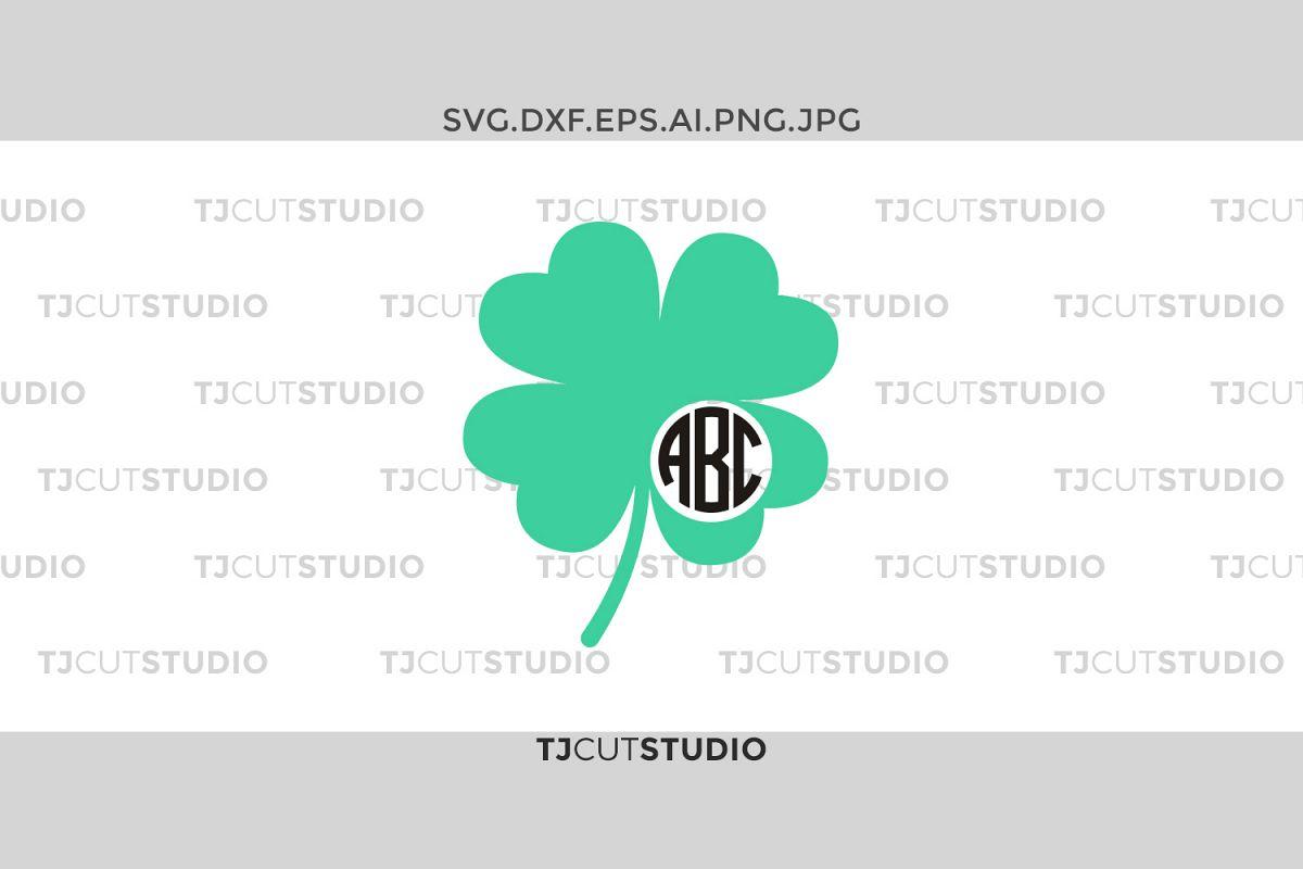 Shamrock monogram svg, clover monogram svg, four leaf clover monogram, Svg Files for Silhouette Cameo or Cricut, Commercial & Personal Use. example image 1