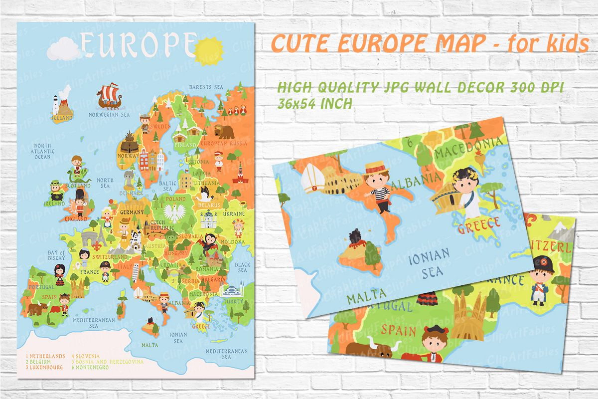 Cute Printable EUROPE MAP for kids - gender neutral room art