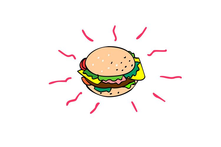 Cheeseburger Cartoon Drawing example image 1