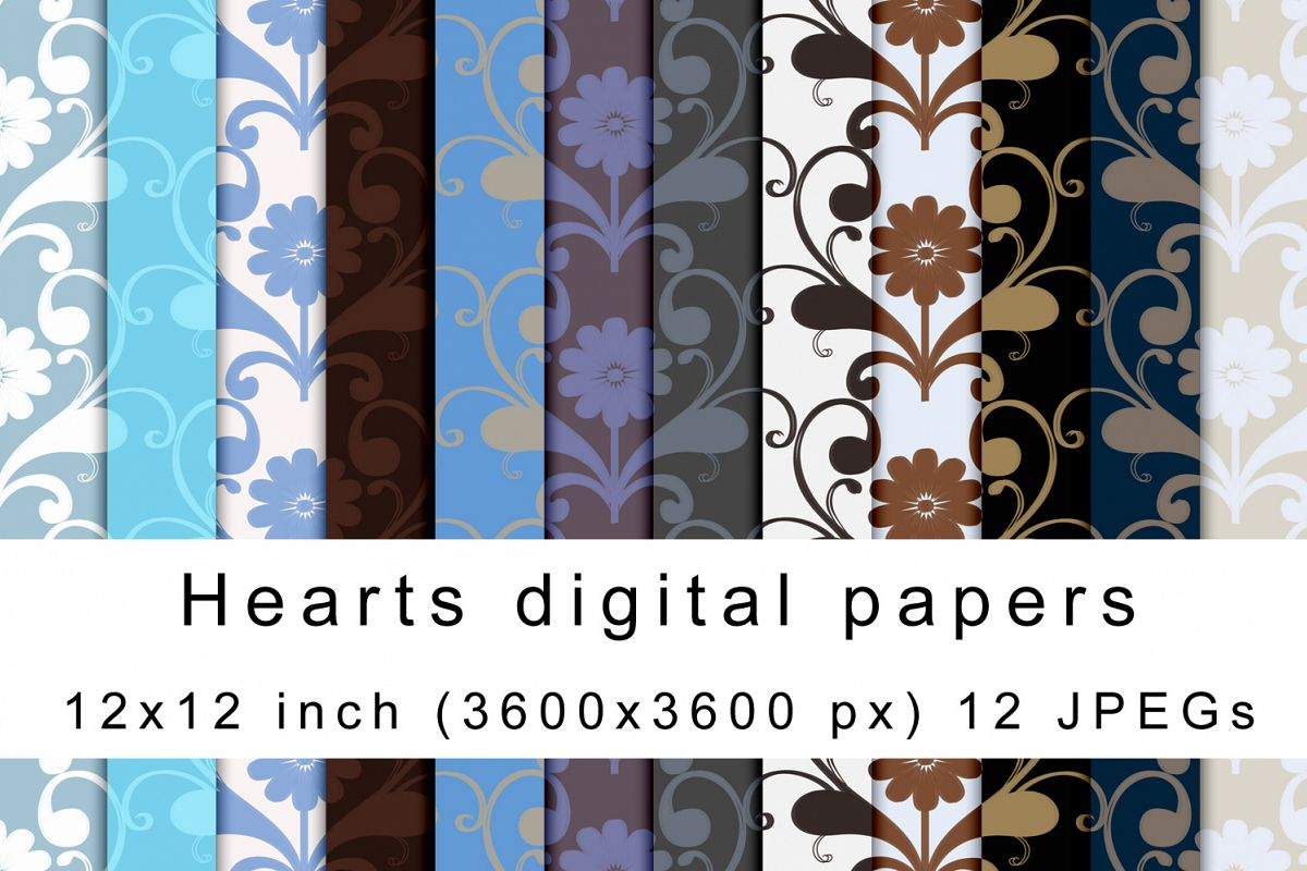 Hearts digital papers example image 1