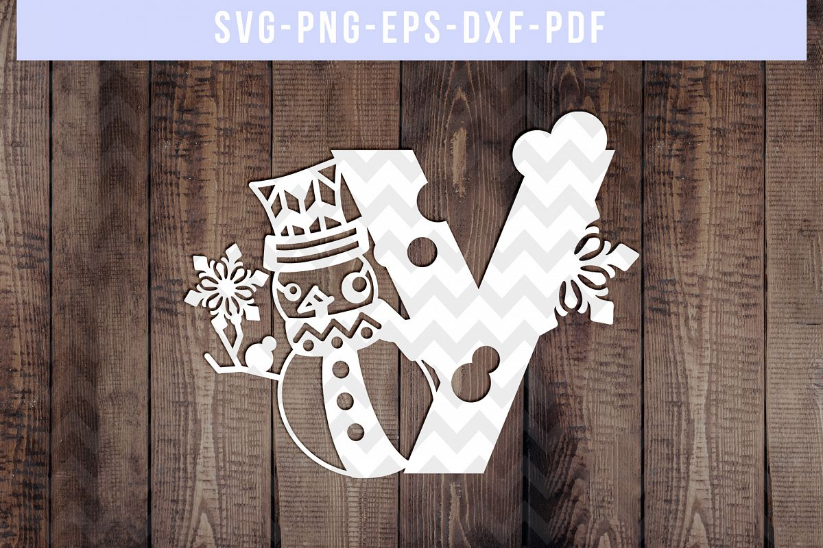 Snowman Font Y Paper Cut Template, Winter Cutting SVG, DXF example image 1