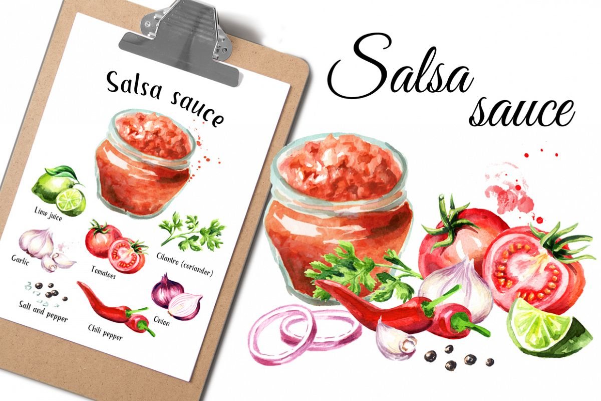 Salsa sauce. Watercolor collection example image 1