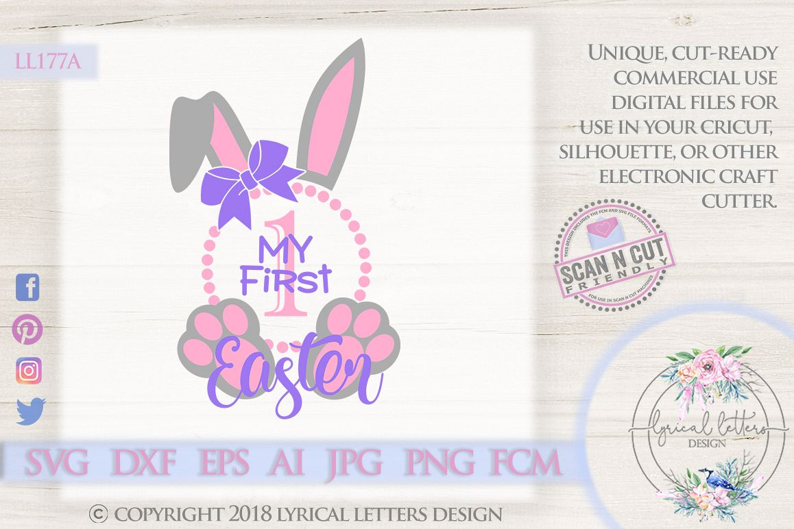 My First Easter Baby Girl Bunny Ears SVG DXF Cut File LL177A example image 1