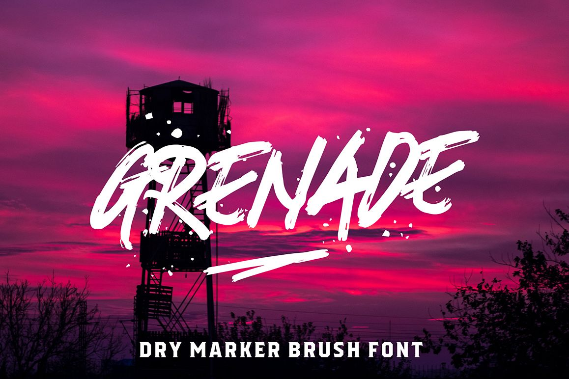 Grenade - A Dry Marker Brush Font example image 1