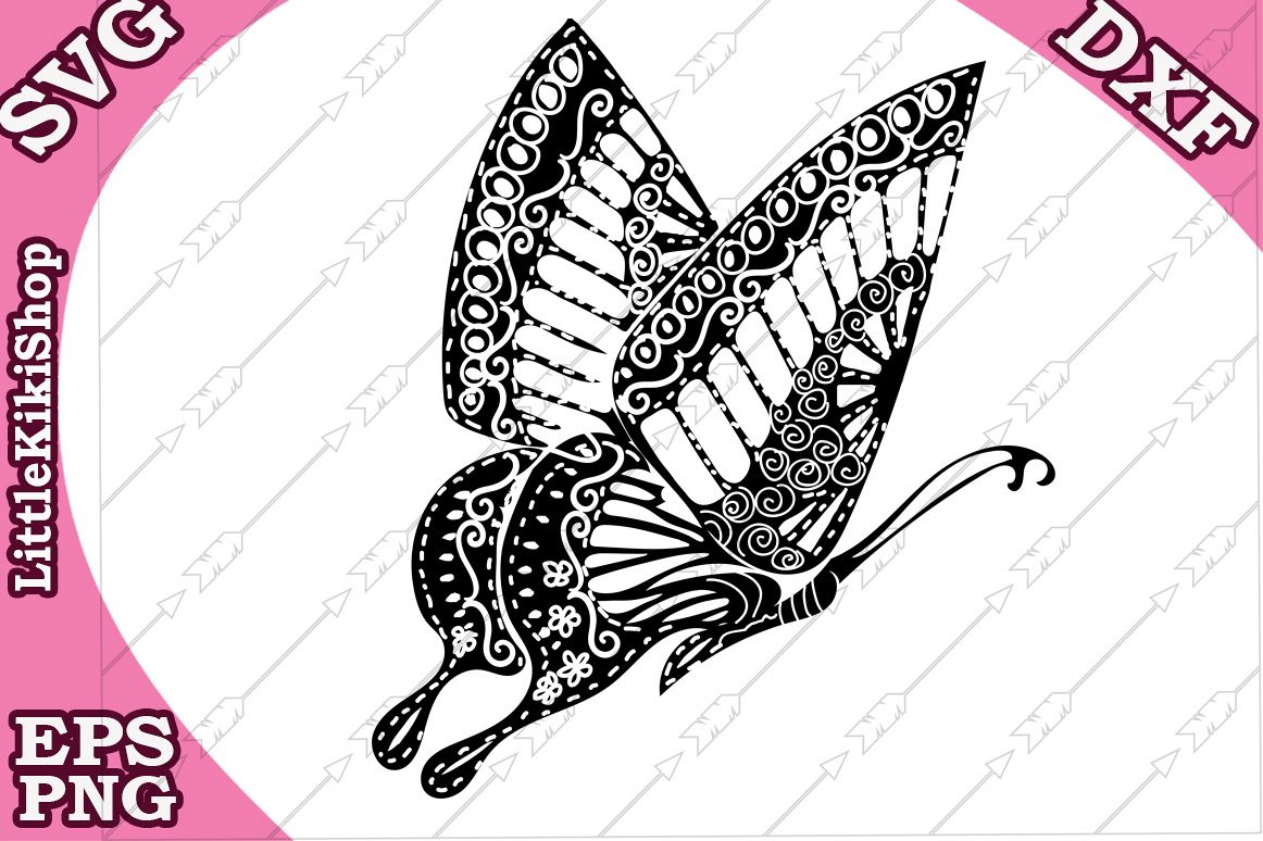 Zentangle Butterfly Svg Mandala Butterfly Svg,Cricut cut Svg example image 1