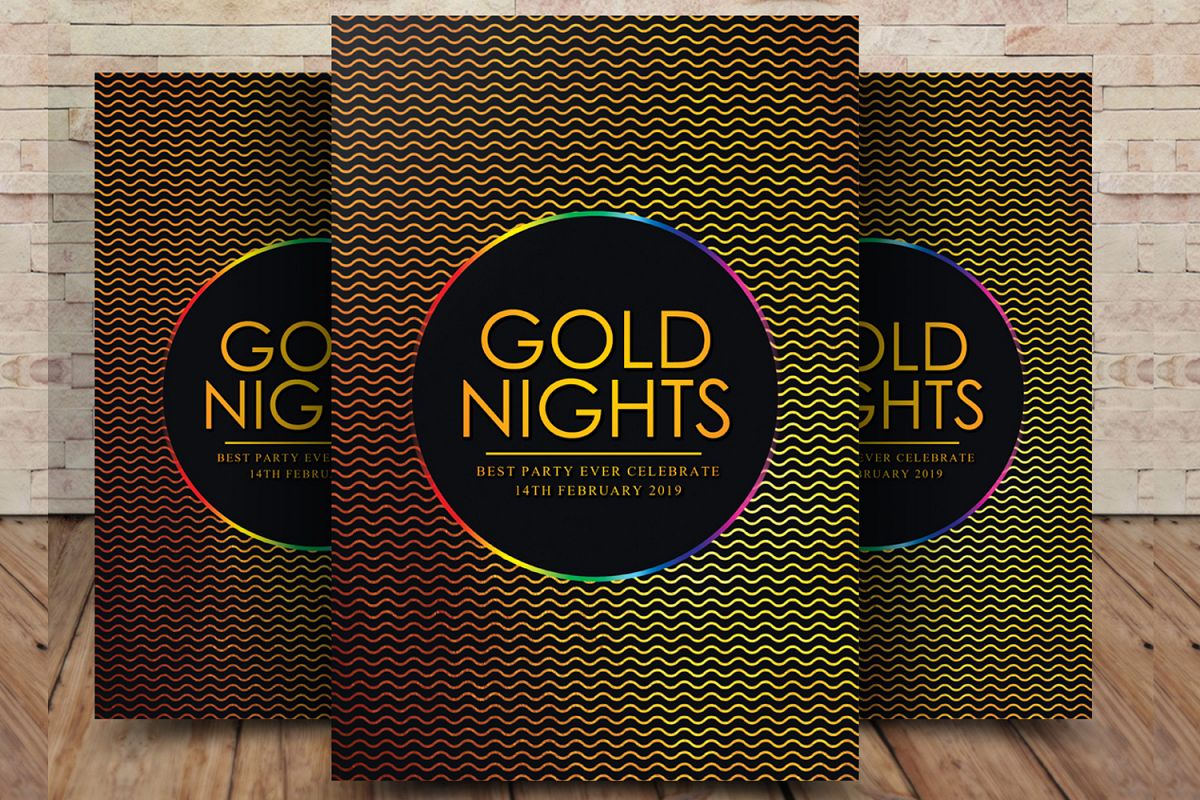 Gold Night Party Flyer example image 1
