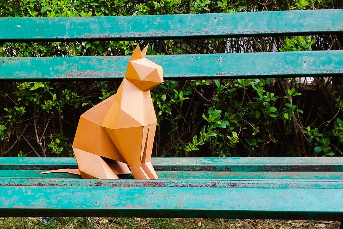 DIY Paper cat - 3d papercraft example image 1
