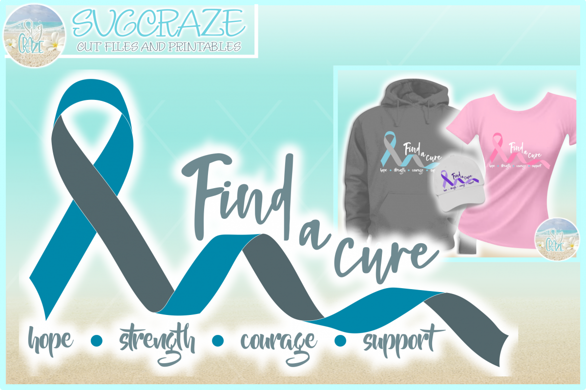 Find A Cure Two Colors Ribbon Svg Dxf Eps Png Pdf Files example image 1