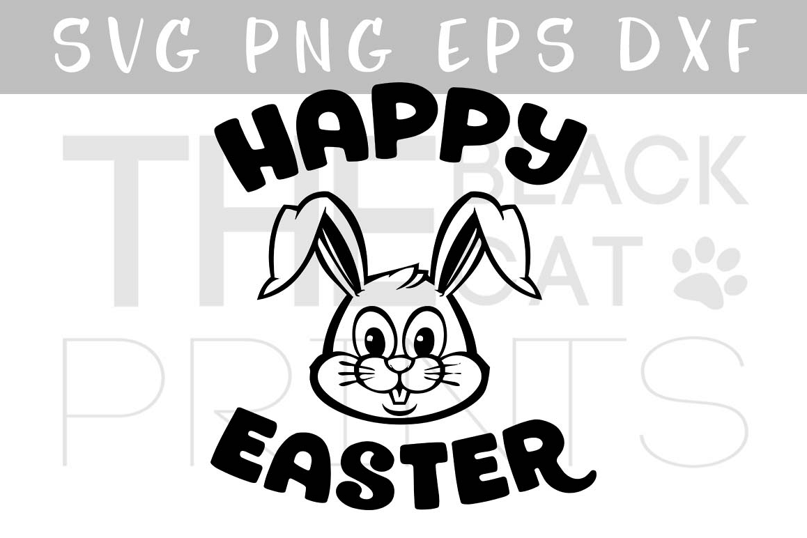 Happy Easter bunny SVG DXF EPS PNG example image 1
