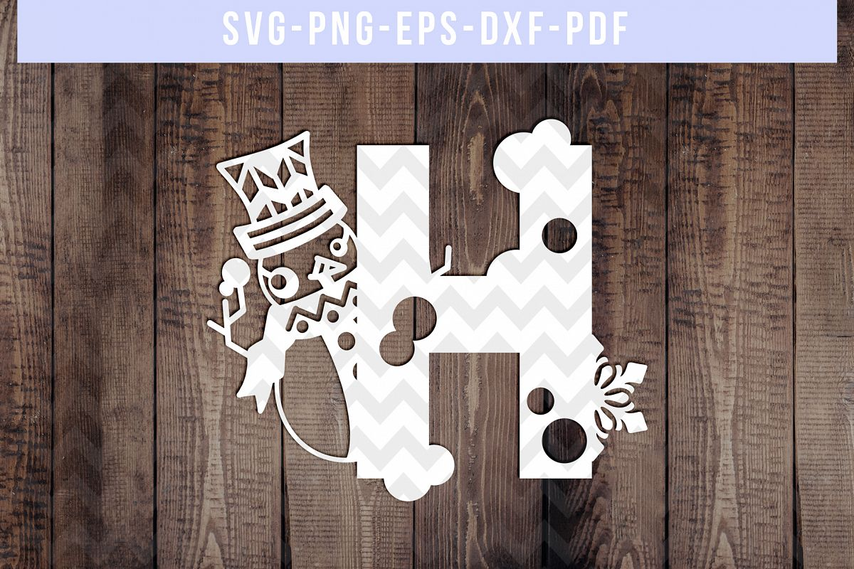 Snowman Font H Paper Cut Template, Winter Cutting SVG, DXF example image 1