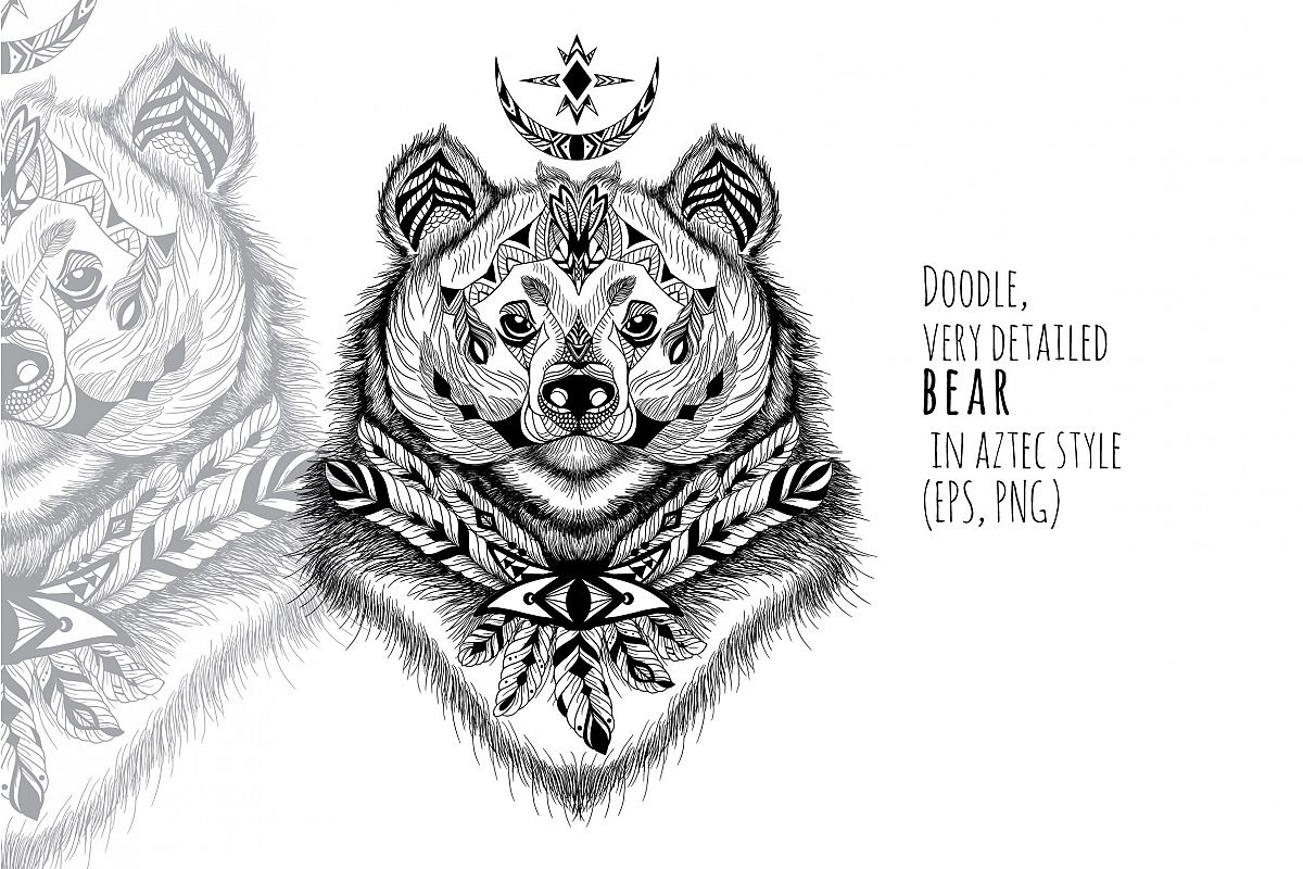 Textured bear in aztec style example image 1
