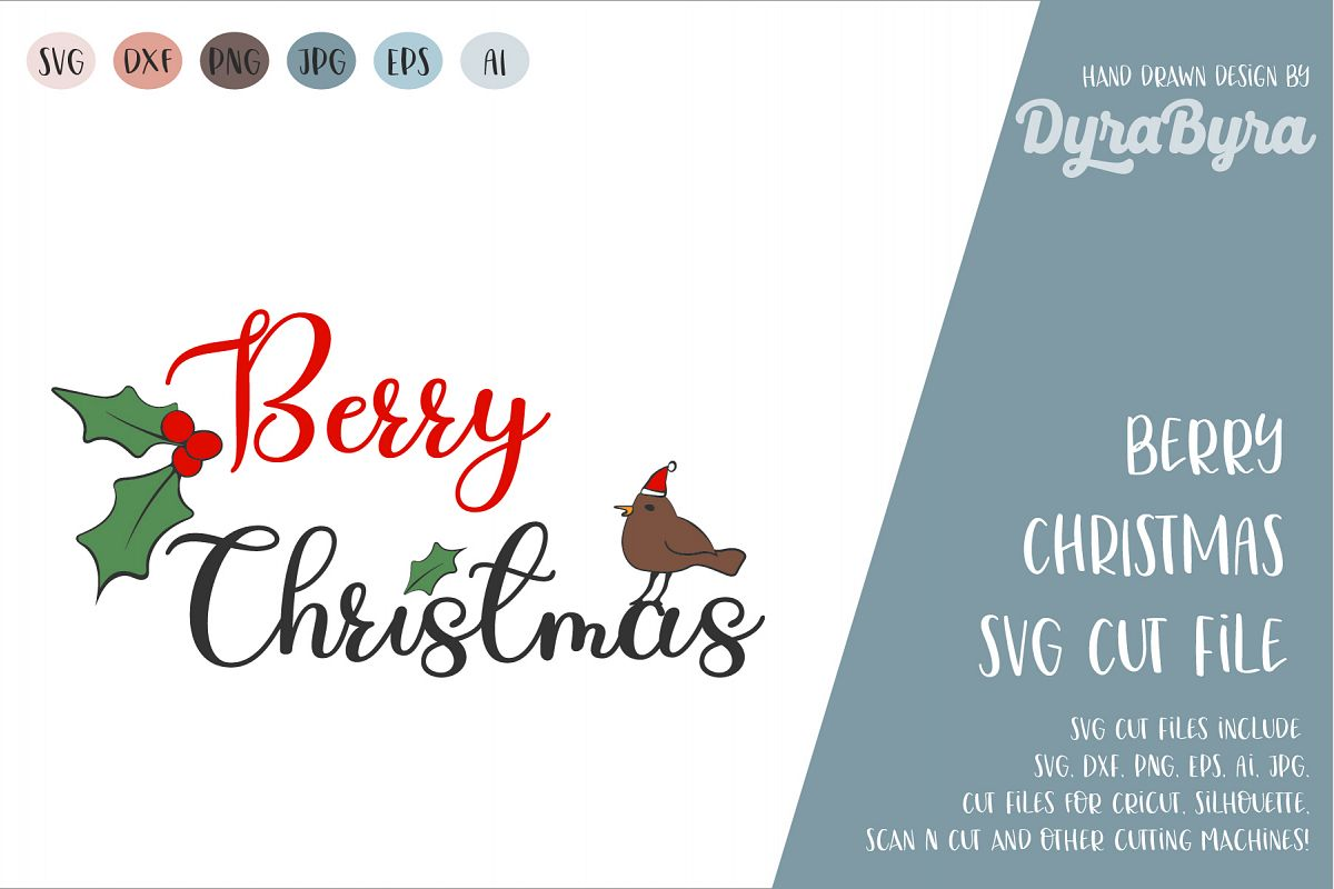 Berry Christmas SVG / Merry Christmas SVG / Holly Berry SVG example image 1