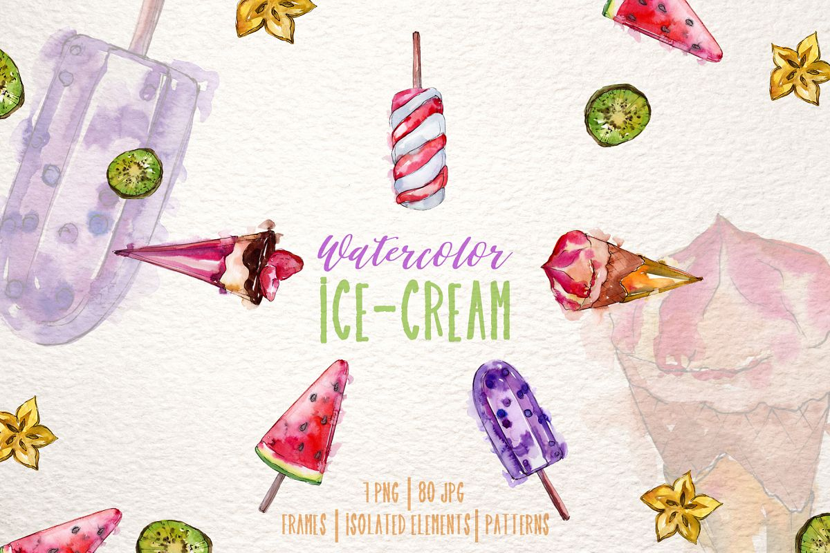 Ice-cream Pleasure Watercolor png example image 1