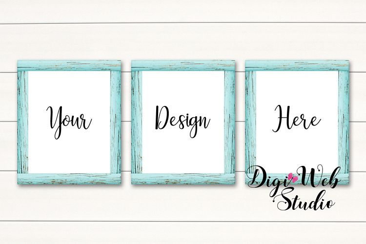 3 Wood Signs Mockup - 3 Cottage Blue Wood Frames on Shiplap example image 1