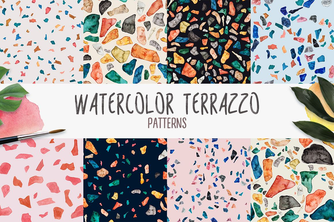 Watercolor Terrazzo Patterns example image 1