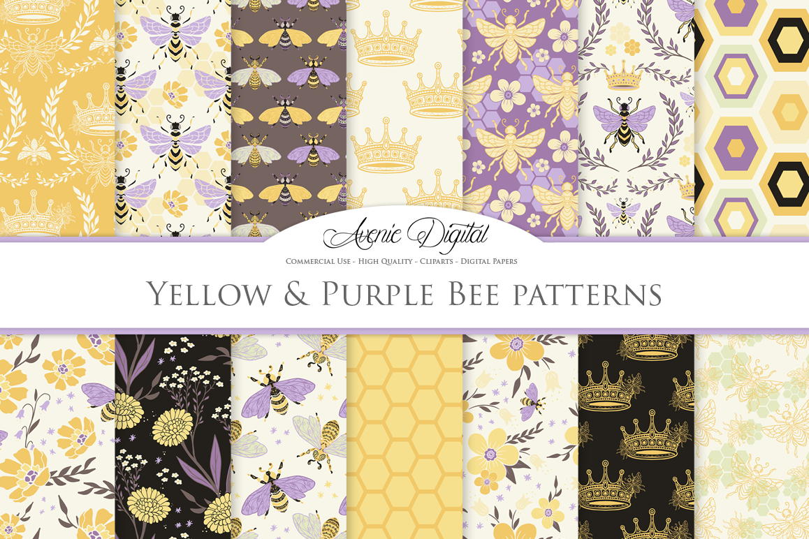 Yellow and Purple Bee Garden Seamless Vector Patterns and Di example image 1