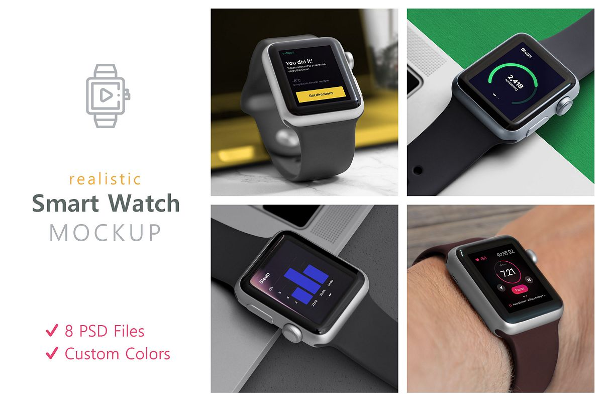 Realistic Smart Watch Mockups example image 1