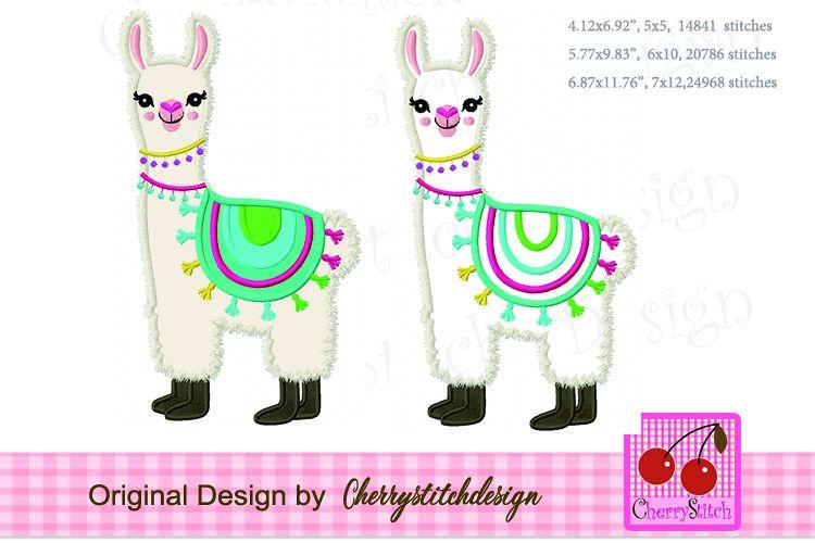 Llama machine embroidery applique design example image 1