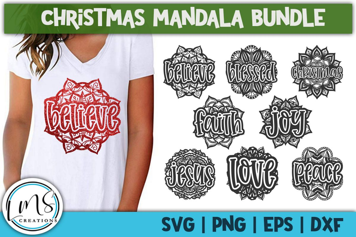Christmas Mandala Bundle SVG, PNG, EPS, DXF example image 1