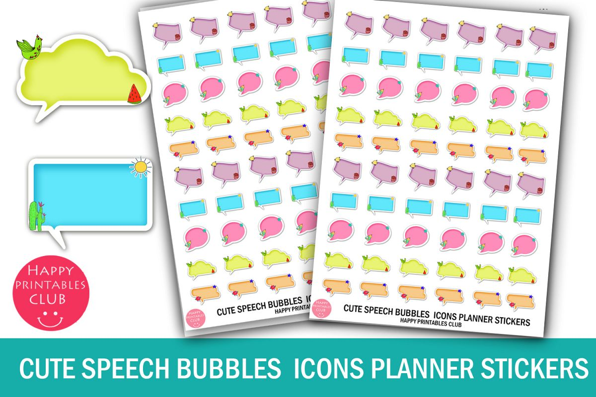 Cute Speech Bubbles Icons Planner Stickers- Speech Bubbles example image 1