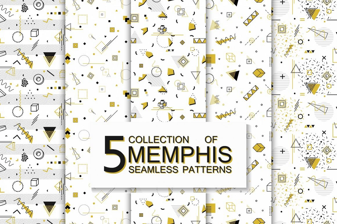 Memphis seamless geometric patterns example image 1
